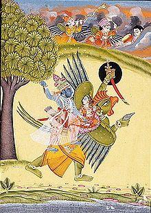 Vishnu and Lakshmi riding on the Garuda - Painting in LACMA from Rajasthan, Bundi, c.1730