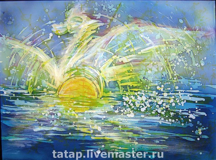 """Купить Батик-картина. """"Море. Рассвет."""" - морской пейзаж, солнце, рассвет, облака, птица"""