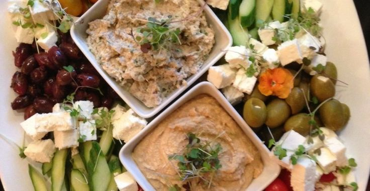 Mediterranean Platter with Pita Chips, Hummus, Roasted Eggplant Dip ...