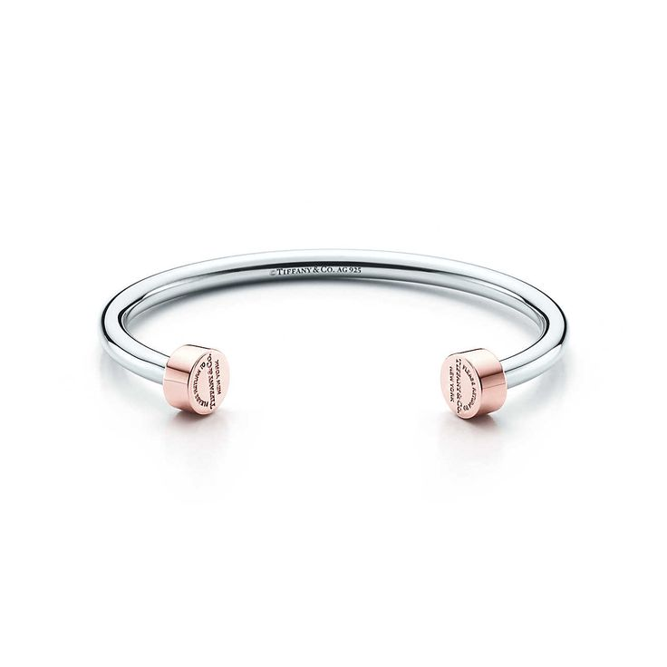 Return to Tiffany® narrow circle edge cuff in sterling silver and RUBEDO® metal.