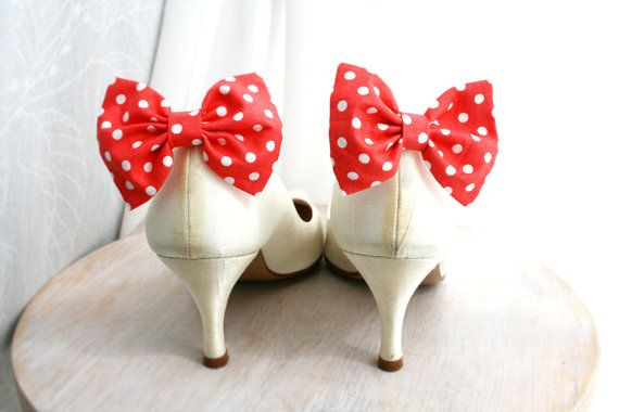 Polka dots bow Shoe clips Coral red Bow tie Shoe by maryankastudio, $15.00