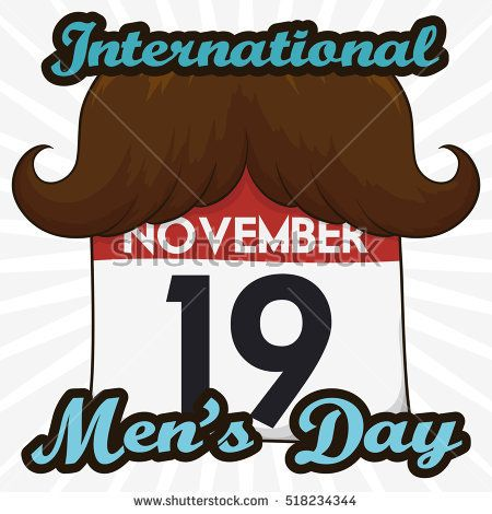 Poster with funny loose-leaf calendar with a mustache to commemorate International Men's Day in November 19.
