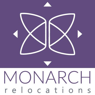 Official Logo for Monarch Relocations. Butterfly ribbons to highlight the remarkable migratory habits of the Monarch Butterfly. Arrows to emphasize movement.