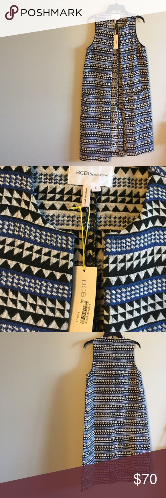 "💕HP💕 Aztec BCBGeneration Vest Aztec BCBGeneration Vest 42"" Length 59% Polyester 34% Cotton 2%Nylon Pockets each side  Perfect for the fall NWT BCBGeneration Jackets & Coats Vests"