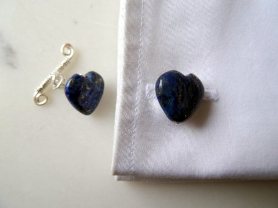 Gemstone cufflinks: Lapis Lazuli heart cufflinks, stone cufflinks for a rockhound, gifts for ushers, father of the bride, sterling cuff links.  Handmade to order in the UK by CalicoRoseStudio  £11.95