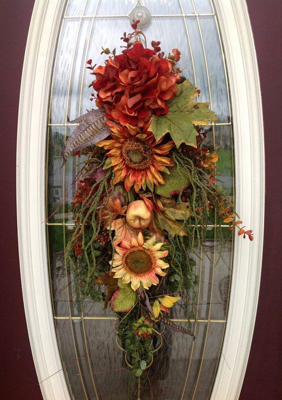 Fall Wreath Autumn Wreath Teardrop Vertical by AnExtraordinaryGift, $75.00