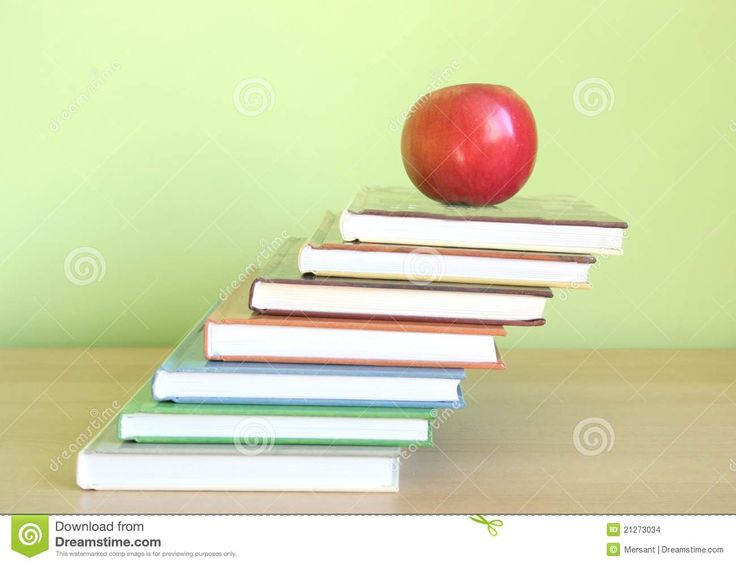 Some books and an apple