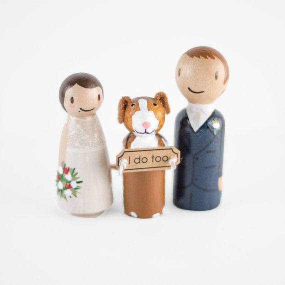 Personalized wedding cake topper with custom peg couple and pet with wedding sign.   :::: INCLUDED IN THIS LISTING ::::