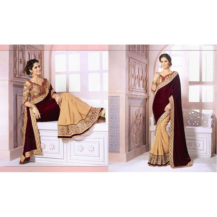 Designer Magenta And Silky Velvet And Georgeet Saree - Buy Magenta And Silky Velvet And Georgeet Saree Online at Best Prices in India | Vendorvilla.com at just Rs.2699/- on www.vendorvilla.com. Cash on Delivery, Easy Returns, Lowest Price.