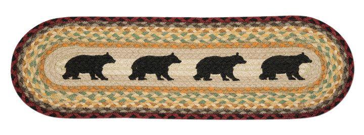 Best Cabin Bear Silhouettes Oval Braided Jute Stair Tread 49 400 x 300