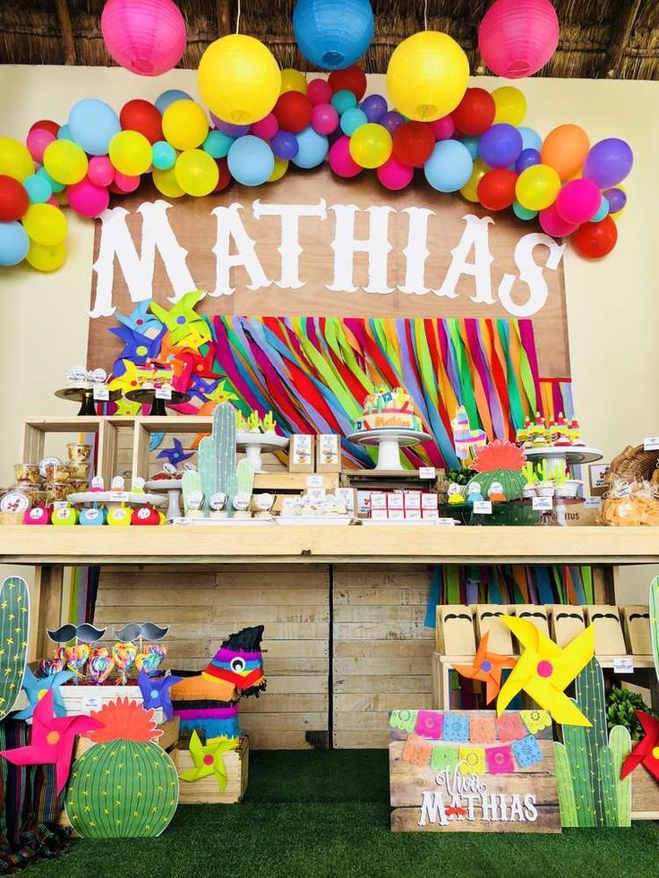 eb65c7c463f Check out this awesome Mexican Fiesta Birthday Party! Love the bright colors  and party decorations!! See more party ideas and share yours at ...