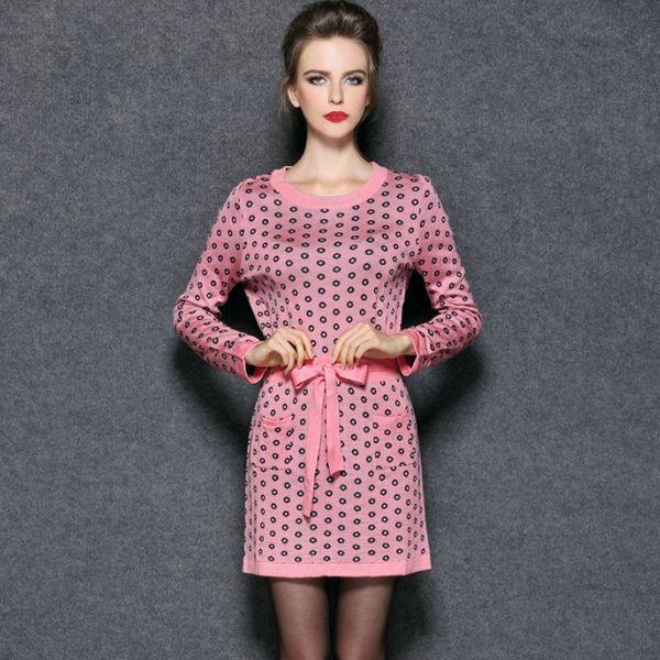 Print Style O-Neck Elegant Knit Long Sleeve Dress