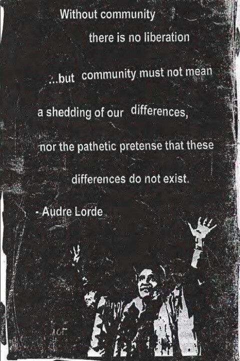 Community and solidarity are important. Remember, you don't have to erase people's differences to build community.