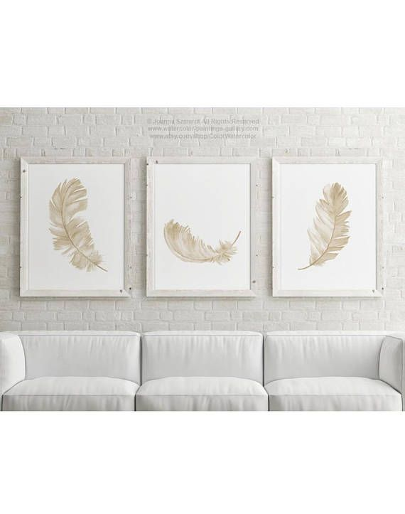 Canvas Feather Set Of 3 Taupe Brown Beige Yellow Watercolour Etsy Watercolor Art Prints Minimalist Animal Light Painting