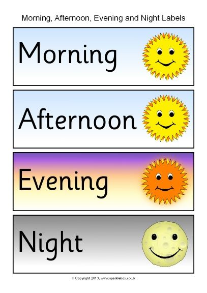 Morning, afternoon, evening and night word labels (SB10153