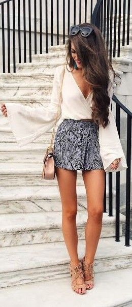 White top with bell sleeves + printed shorts