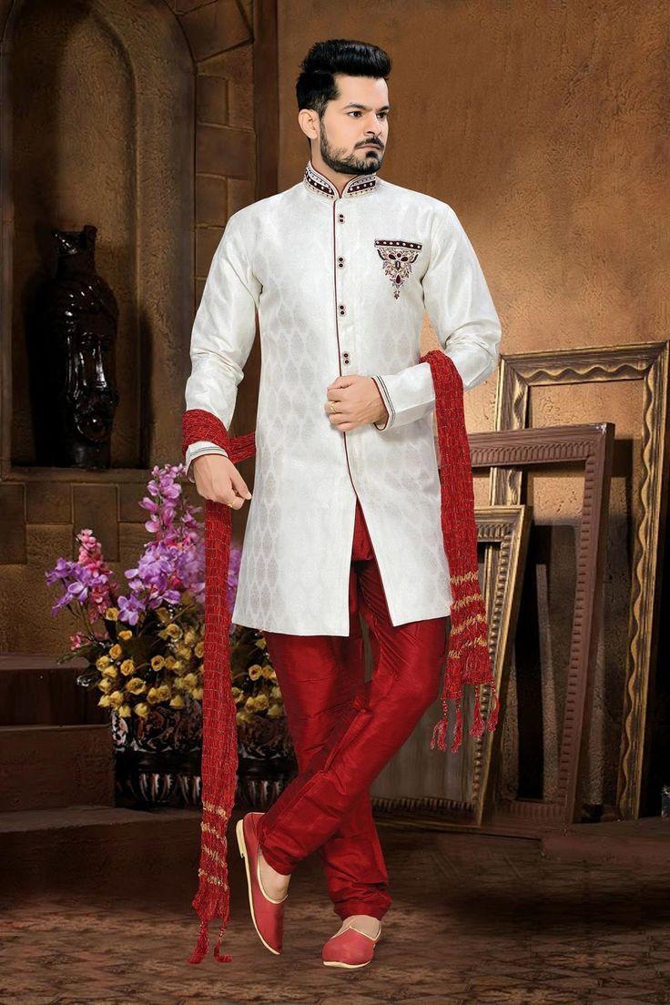 White Indian Mens Wedding Wear Sherwani In Jacquard