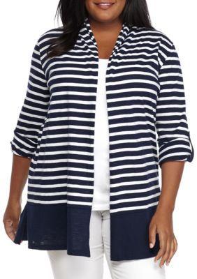 Kim Rogers Women's Plus Size Roll Sleeve Open Cardigan - Harbor Navy - 1X