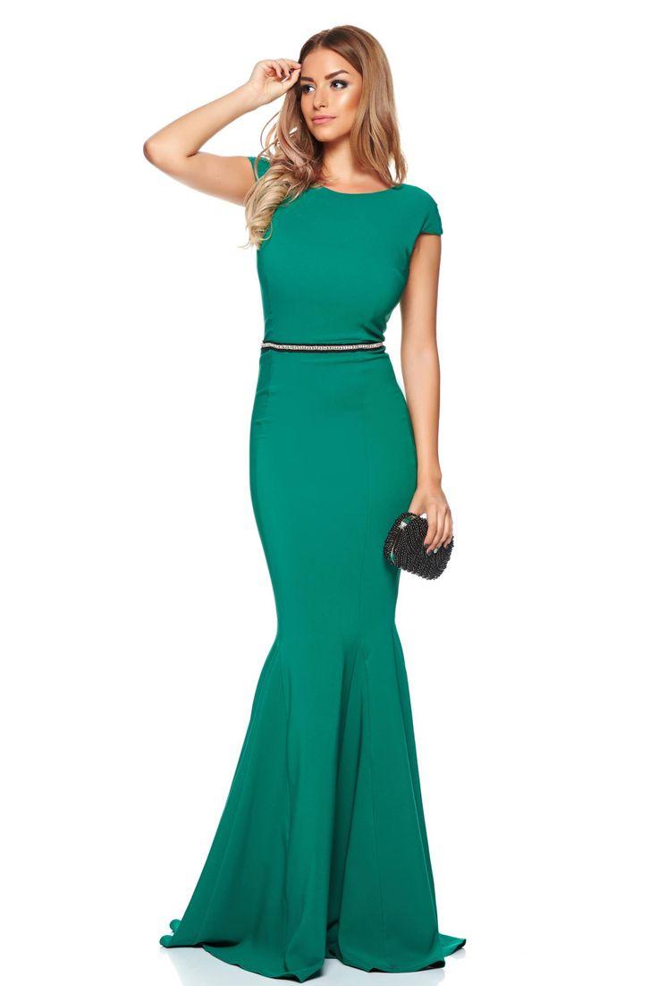 Artista Sugar Love Green Dress, mermaid dress, embellished accessories, cut back, inside lining, back zipper fastening, form-fitting, flexible thin fabric/cloth, elastic fabric