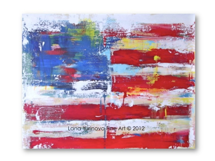 American Flag Abstract Large Original Painting