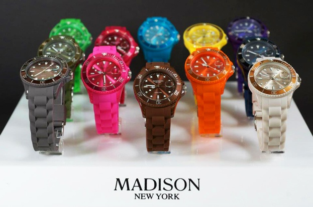 Available in a wide range of vibrant colours, the Madison NY analog watch features a comfortable silicone armband with a buckle, a rotating bezel, shock-proof casing, scratch-resistant mineral glass, water-proofing up to 5 bars, stainless steel backcover, Quartz movement and a 2 year manufacturer warranty. $59.95