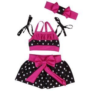 Polka Dot Bow Swimsuit + Headband