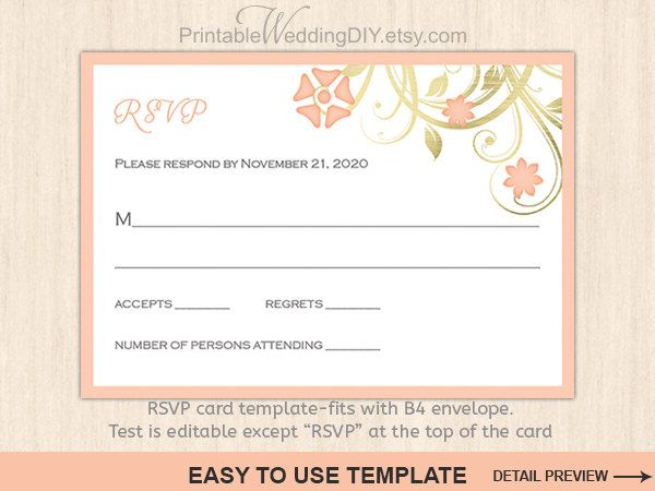 Coral pastel floral Printable wedding RSVP card template|Editable word.doc| Response card|  Wedding rsvp|Reply card| Wedding template