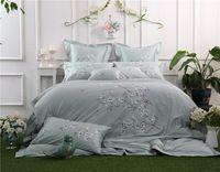 100% Egipto Algodón Oriental Bordado del lecho de la Reina/King Size Gris Colo Floral juego de Cama Edredón ropa de cama cubierta fundas de almohada