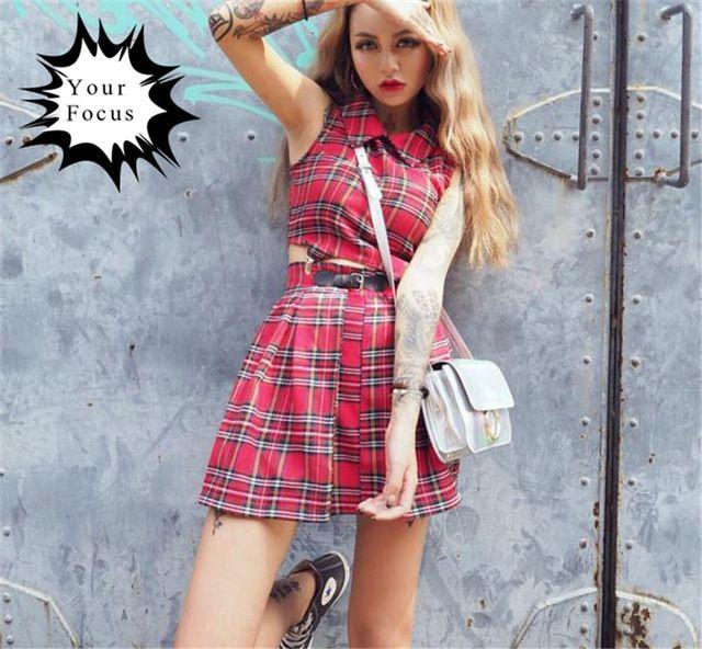 2016 nieuwe harajuku unif punk rok stijl rode en zwarte plaid crop tops + rokken set vrouwen Ijzeren gesp riem mini rokken