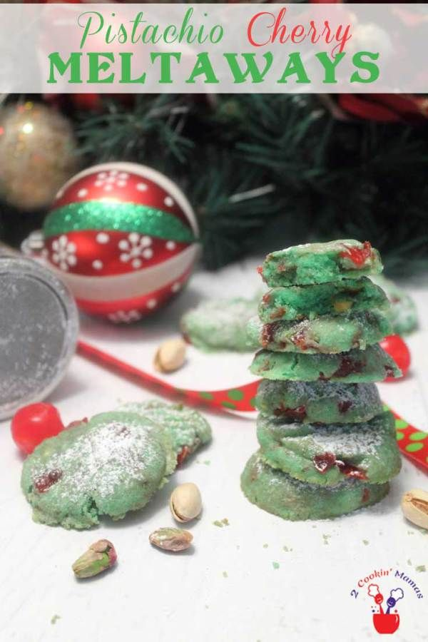 Pistachio Cherry Meltaway Cookies | 2 Cookin Mamas A soft buttery cookie that just melts in your mouth. Rich pistachio flavor & studded with cherries, these make the perfect Christmas cookie. #recipe