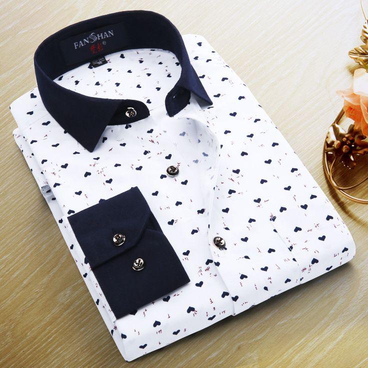 Floral Men Shirt Long sleeve Luxury Brand Shirt Slim Fit Casual Fashion Mens