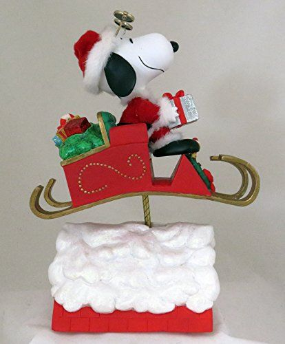 Peanuts Snoopy Santa Christmas Musical Table Piece With