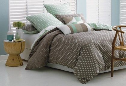 Deco Osman Quilt Cover Set. This spotty bed linen will bring a cheerful ambience to the bedroom with its feel-good modern look and colours. Printed on cotton sateen with coordinating reverse and piping trim.