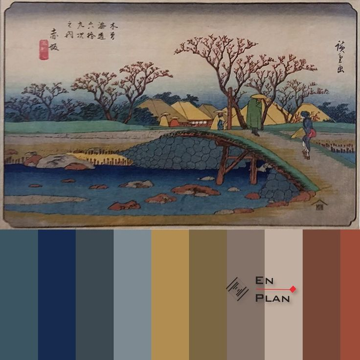 Inspiration by the colour Japanese woodblock color painting. Inspiracje kolorem drzeworyt japoński. www.enplan.pl