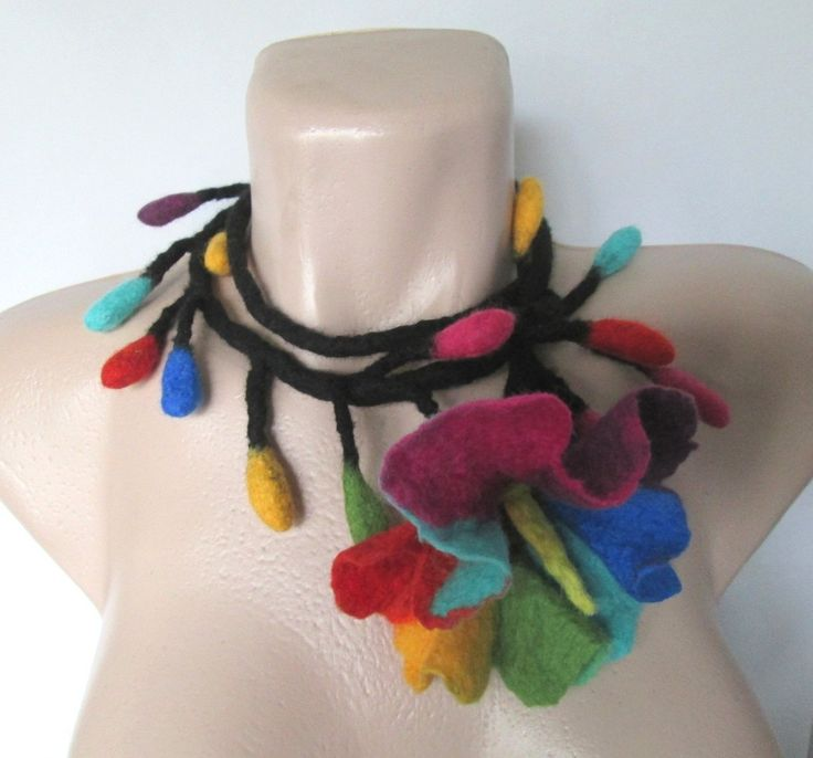 Lariat necklace,Flower lariat,Hippie necklace,Funky lariat,Gypsy Jewelry, Funky Jewelry, , Eco Friendly, Felted Wool,wool lariat by…
