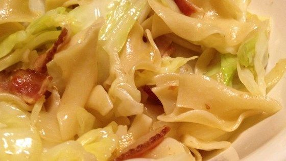 Cabbage and noodles, cooked with bacon, is comfort food supreme, great for a chilly day.