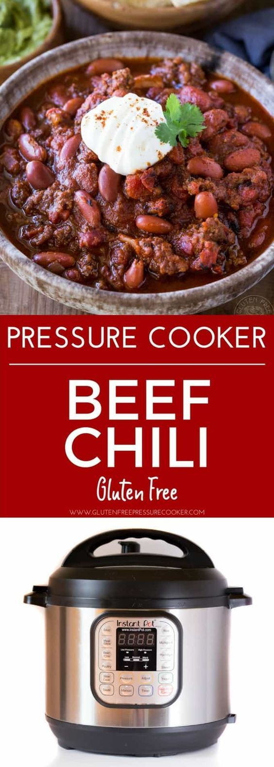 BEST Instant Pot Chili!! My recipe has been tested & tweaked to create a delicious pressure cooker ground beef chili recipe you'll LOVE! It's gluten free. Pressure cooker recipe for ground beef chili, Texas style Chili con carne #instantpot #instapot #texaschili #chili #groundbeef #beef #groundbeefchili #pressurecooker #pressurecooking #glutenfreepressurecooker