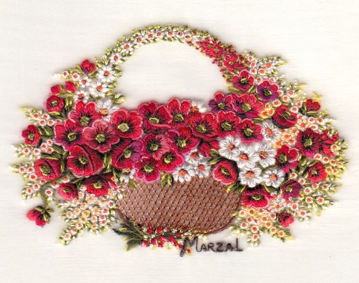 Fabulous hand embroidered basket of flowers by Pilar Marzal. Very talented and original work.