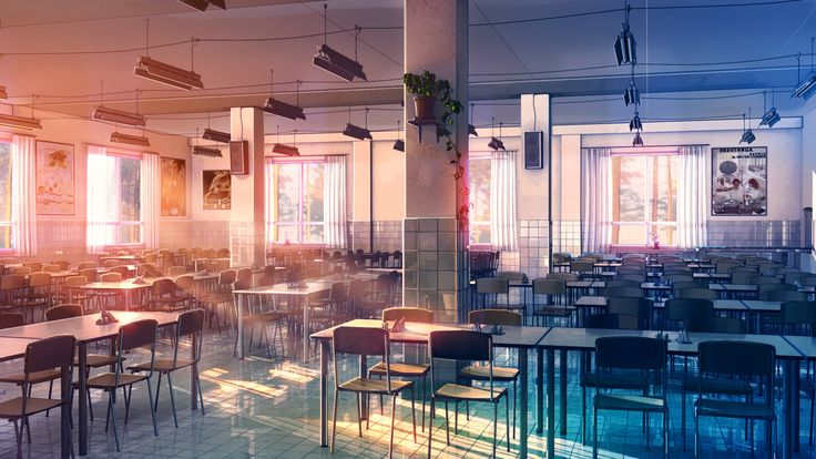 ✮ ANIME ART ✮ anime scenery. . .school. . .cafeteria. . .tables. . .chairs. . .windows. . .sunlight. . .glowing. . .sunset. . .amazing detail. . .realism. . .kawaii