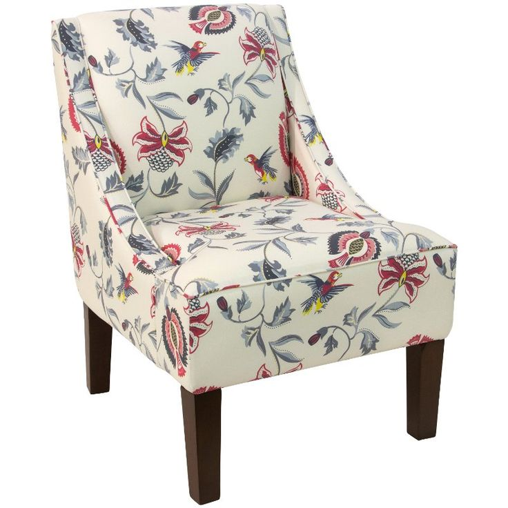 Bright multi color floral swoop arm chair upholstered