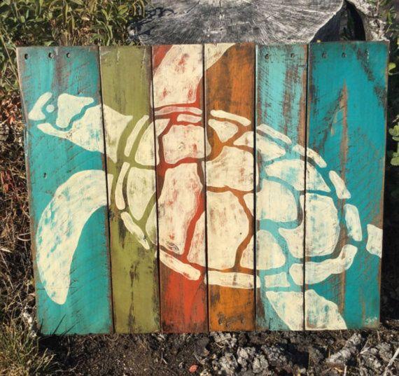 Arte rústico color tortuga por WoodCreationsByJana en Etsy