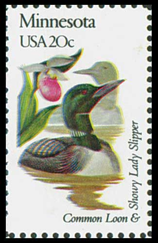 1982 20c Minnesota State Bird & Flower - Catalog # 1975 For Sale at Mystic Stamp Company