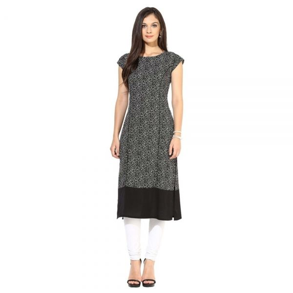 Buy Black Floral Printed Crepe Kurtis Online at cheap prices from Shopkio.com: India`s best online shoping site