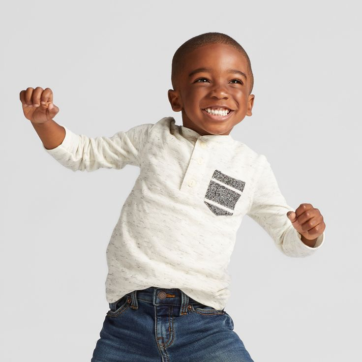 Toddler Boys' Long Sleeve Henley T-Shirt - Cat & Jack Cream 12M, Size: 12 M, White