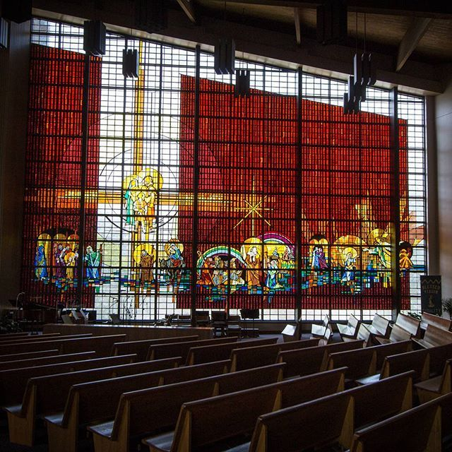 The largest stain glass window in United States.  _  67 feet in length and 45 feet in height. Inside the Holy Family Parish church in Jasper Indiana. That's big!  _  #church #doduboiscounty  #indiana