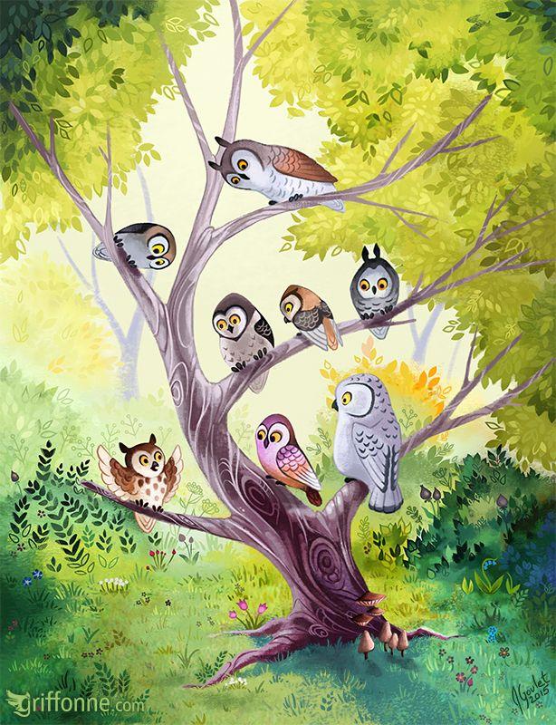 картинки семья совушек в природе второй