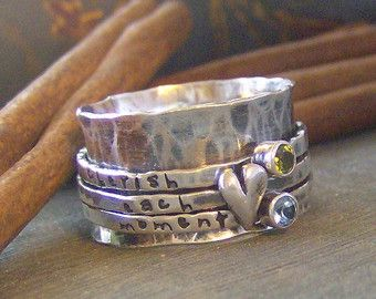 Heart and stone spinner ring hand stamped Birthstone sterling silver spinner ring mothers ring