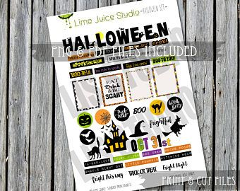 Halloween Set-Printable Stickers-DigitalDownload-WordStrips-ProjectLife-Scrapbooking-Print&Cut-PNG/PDF/SVG plus **free** SilhouetteCutFile