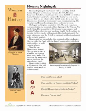 Fourth Grade Holidays & Seasons Worksheets: Florence Nightingale Biography