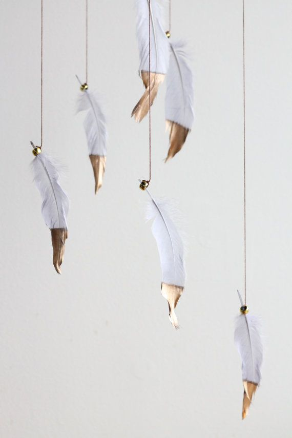 Gray and Gold Dreamcatcher Mobile - Silver Boho Bohemian Gold Dipped Baby Tribal Nursery Boy Indian Feathers